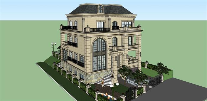某三层简欧现代风格独栋豪华别墅建筑设计su模型