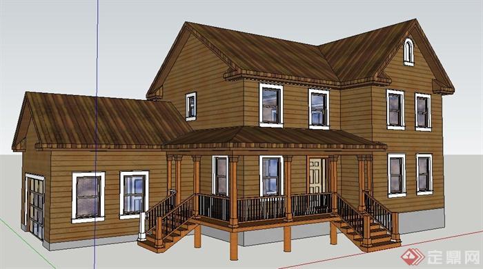 现代中式二层民房别墅建筑设计su模型