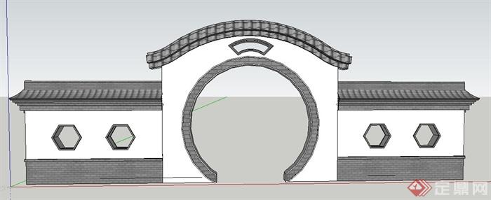 现代简约中式景墙su模型(1)