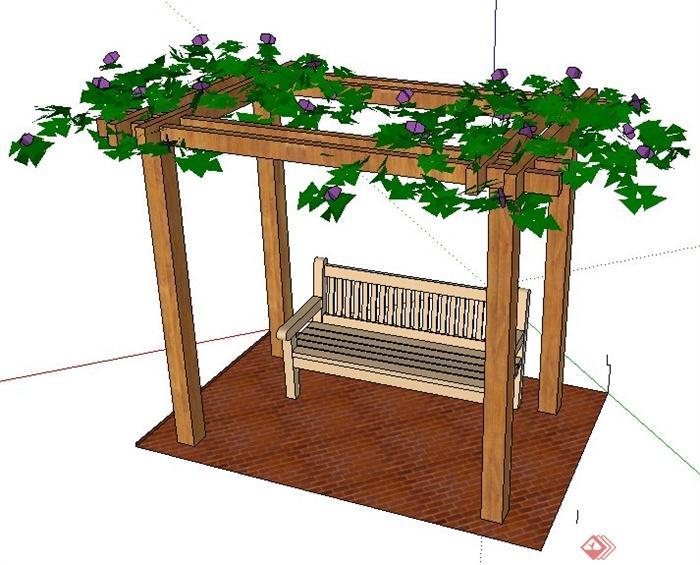 现代风格木制花架座椅su模型