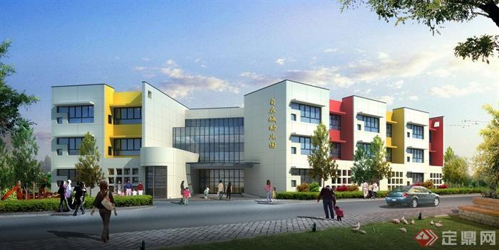 某三层现代风格幼儿园建筑设计cad图与jpg效果图[原创
