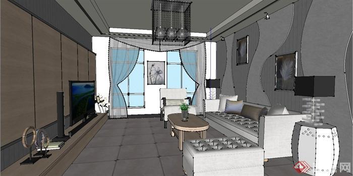 某现代简约风格住宅空间客厅装修设计su模型(1)