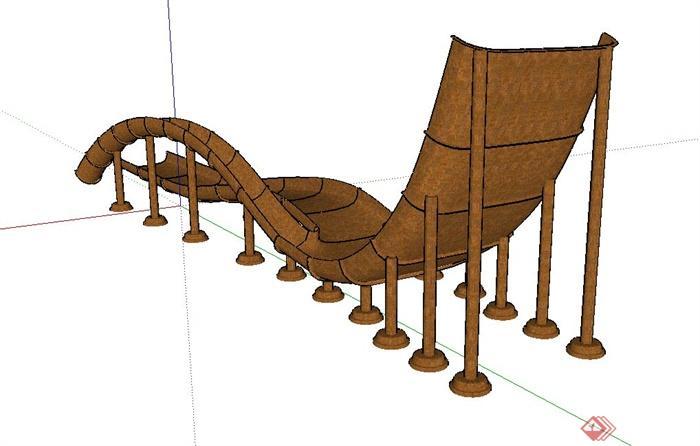 某景观小品水上滑梯设计su模型(3)