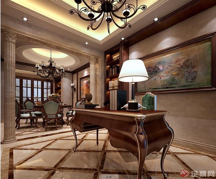 某欧式风格别墅空间室内装修设计jpg效果图