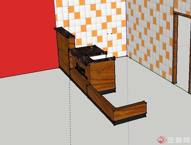 某咖啡馆收银台设计su模型(2)