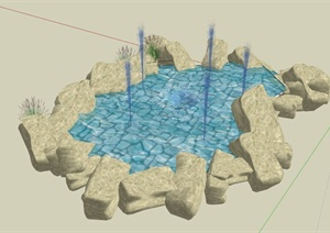 景石喷泉水景设计SU(草图大师)模型