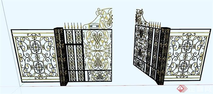 某欧式铁艺大门设计su模型