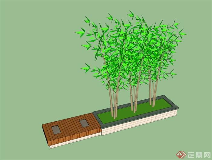 长方形树池坐凳设计su模型(1)