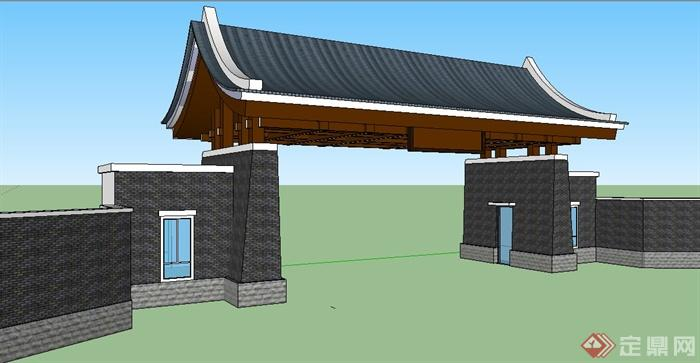 现代中式风格入口大门设计su模型(2)图片