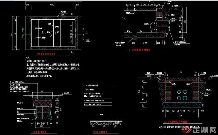 电缆排管工作井设计cad施工图室内设计毕设图册图片