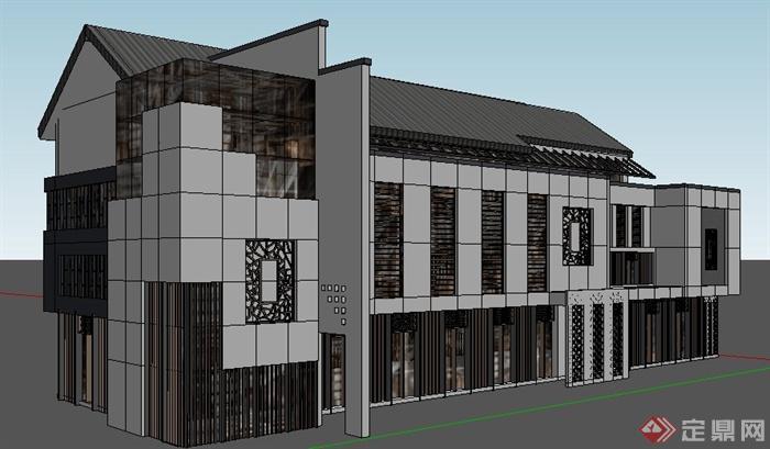 现代中式商业街商业建筑设计su模型(1)图片