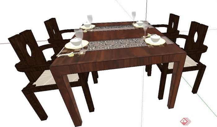 现代中式风格木制餐桌椅su模型