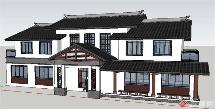 现代中式风格二层办公楼建筑设计su模型