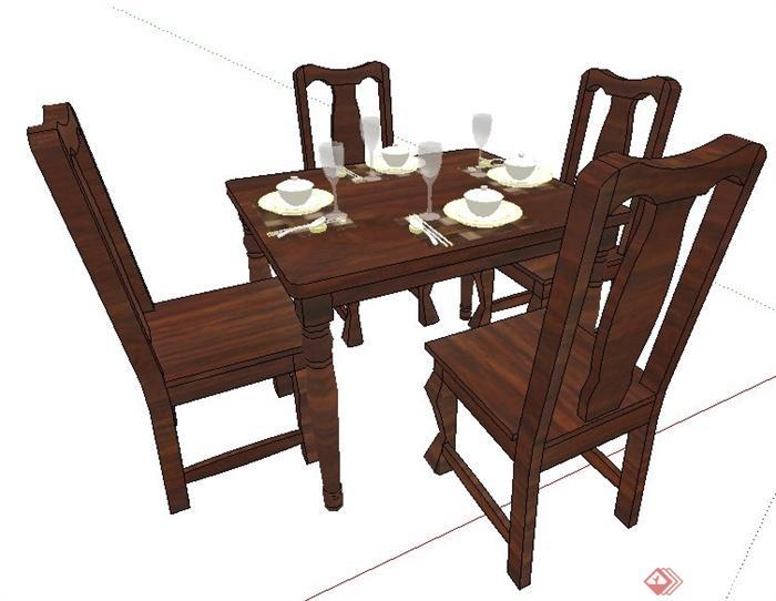 某现代中式风格木制餐桌椅su模型