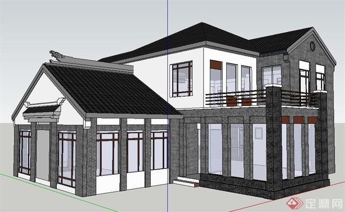 现代中式风格商业用房建筑设计su模型