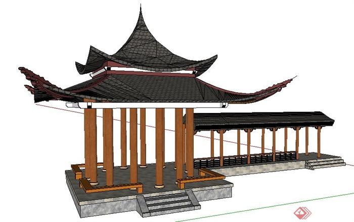 现代中式风格四角凉亭及长廊su模型图片