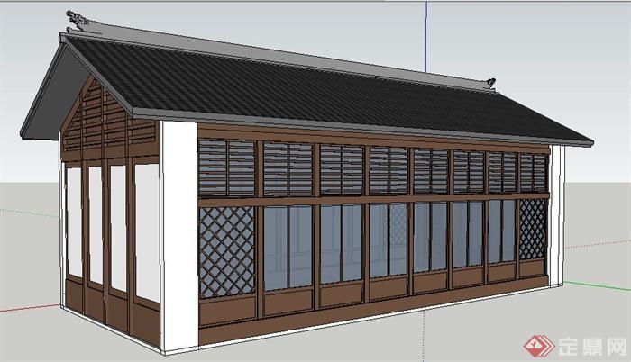 现代中式风格单层建筑设计su模型