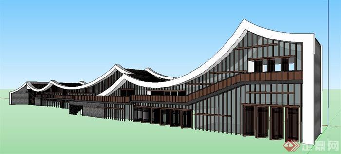 现代中式风格游客中心建筑设计su模型(1)图片