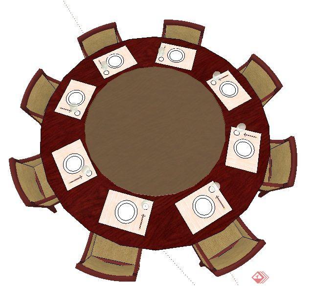 现代中式圆形餐桌椅su模型