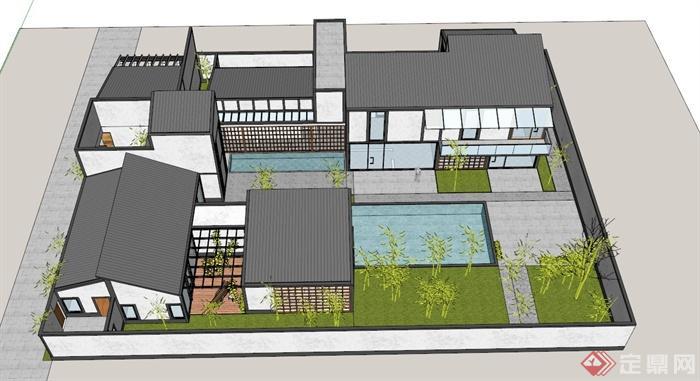 小户型苏博式别墅建筑设计su模型