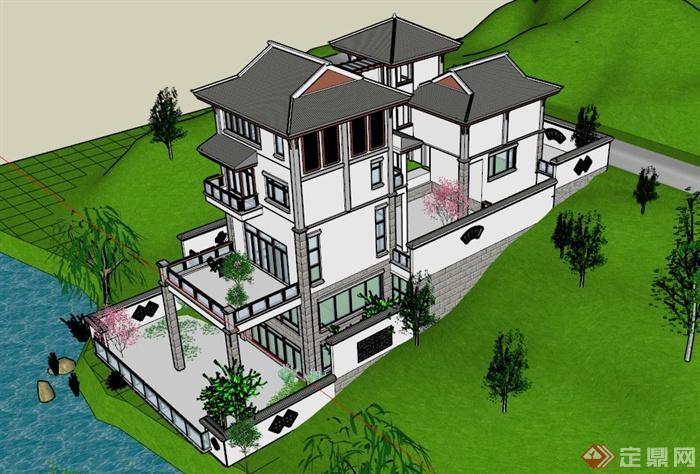 四层中式别墅建筑设计su模型(1)