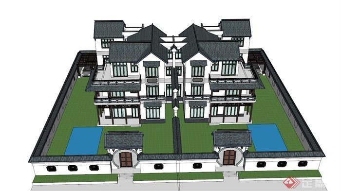 四層中式雙拼別墅建筑設計su模型