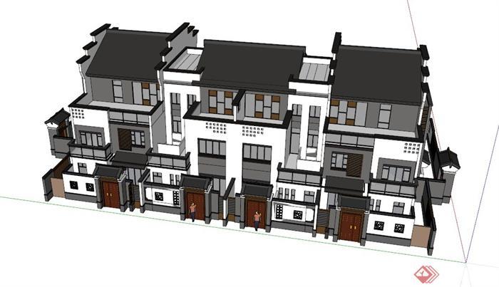 四拼中式别墅建筑设计su模型(2)