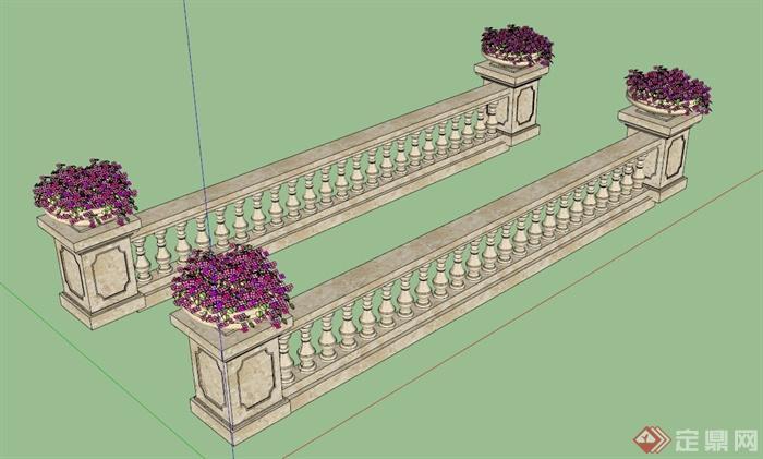 欧式花钵柱栏杆设计su模型