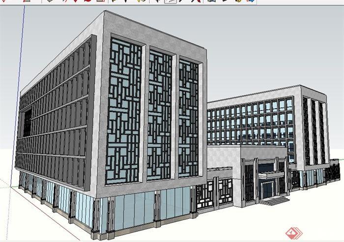 现代中式风格组合办公楼建筑设计su模型(1)