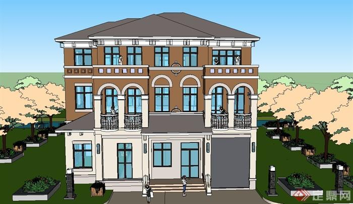 某三层简欧风格别墅建筑设计SU模型