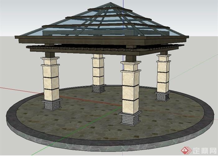 简约中式木制玻璃四角亭su模型