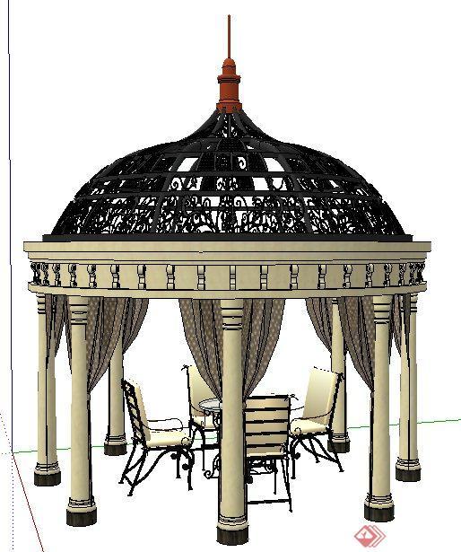 欧式风格铁艺凉亭及桌椅su模型