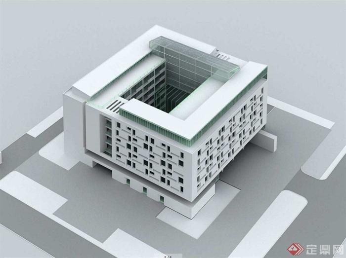 某现代风格多层政府办公楼方案设计(cad 效果图)[原创