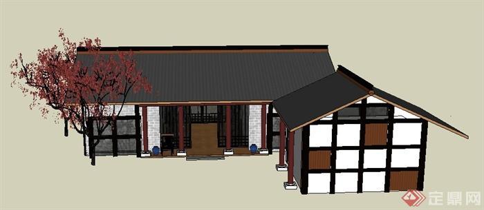 中式风格单层民居建筑设计su模型(3)