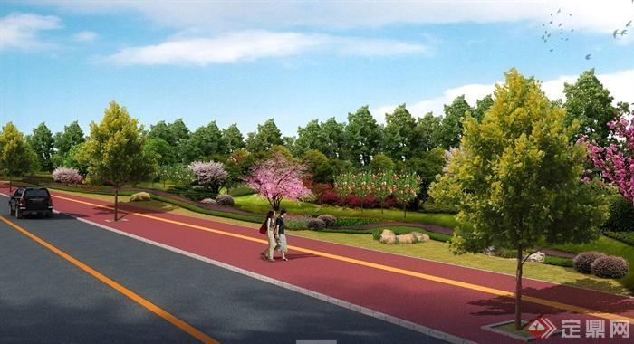 某道路绿化带景观设计jpg效果图