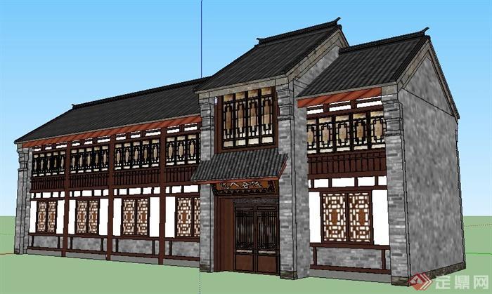 现代中式风格客栈建筑设计su模型(2)