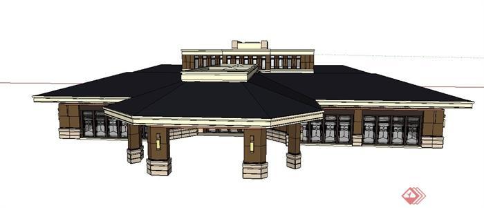 某欧式单层售楼会所建筑设计su模型[原创]