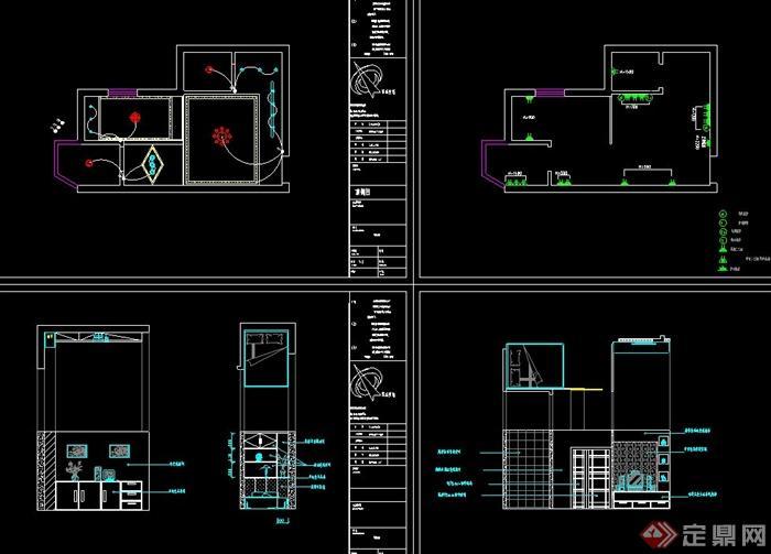 某单身公寓住宅空间造型设计cad施工图
