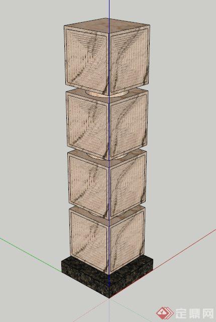 特色现代景观柱设计su模型