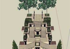 新古典台阶组合景观设计SU(草图大师)模型