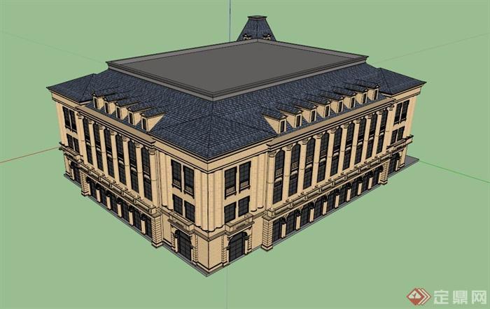 三层欧式会所建筑设计su模型