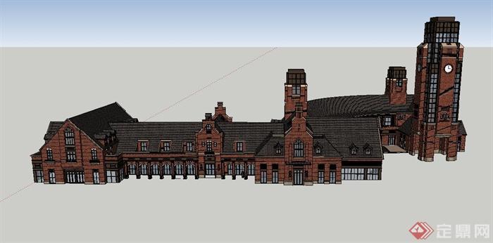 某欧式联排单层商业建筑设计su模型