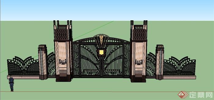 园林景观欧式入户大门设计su模型