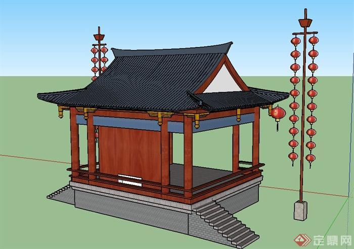 古典中式四角亭子戏台设计su模型图片