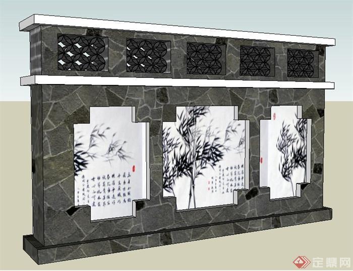 现代中式风格文化景墙su模型(1)