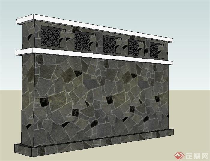 现代中式风格文化景墙su模型(2)