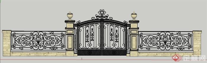 现代风格铁艺大门及围墙su模型