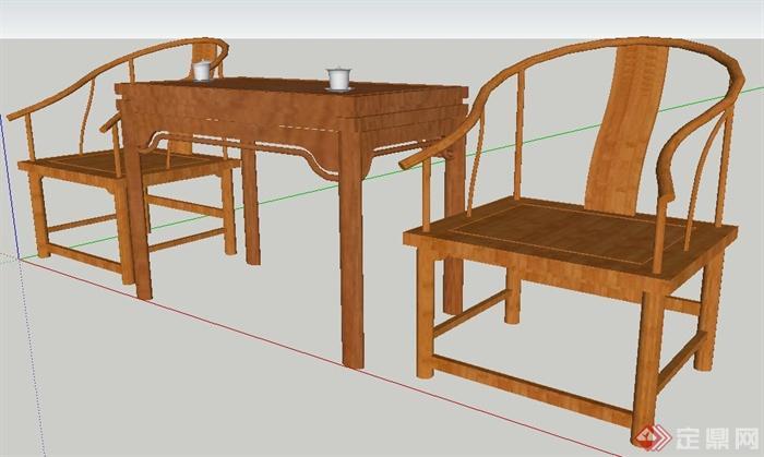 现代中式风格木制桌椅su模型