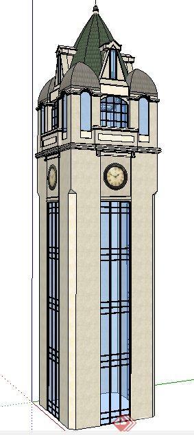 简欧风格钟楼塔楼设计su模型