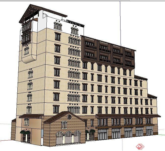 欧式风格阶梯状商铺办公楼建筑设计su模型
